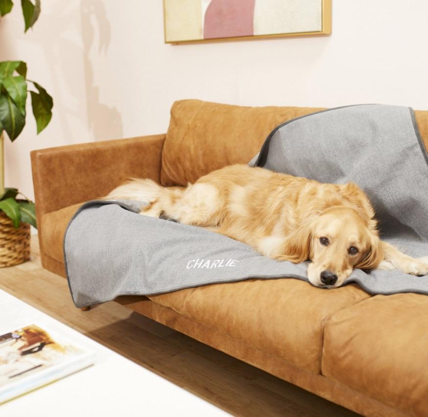 Frisco Personalized Faux Linen Cat Blanket